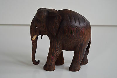 Beautiful Wooden Hand Carved Elephant. Approx 14cm tall