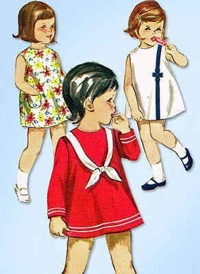 1960s Vintage Butterick Sewing Pattern 3667 Toddler Girls A Line Dress Size 2