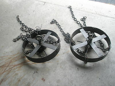 2 Vintage Black Hanging Light Fixtures Chandelier Heavy Iron WI Hotel Gothic