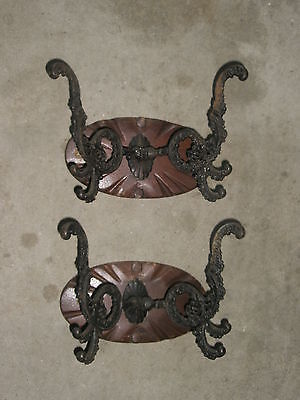 "2 Antique Victorian 9"" x 7"" Ornate Black Metal Coat Hooks Set From Old FL Home"