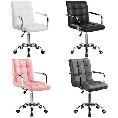 PU Leather Office Swivel Chair Adjustable Computer Armchair Black/White