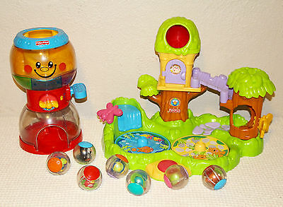 Fisher Price Roll-A-Round Balls Jungle Friend Treehouse Gumball Lot Toddler Baby