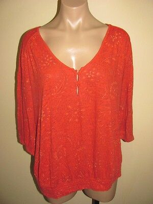 Lucky Brand Orange Floral Smocked Shirt Size 2X Womens 3/4 Sleeve Cotton Top