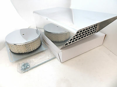 Polished Fabricated Aluminum Air Scoop W/ Screen Single 4 BRL Carb SBC BBC V8
