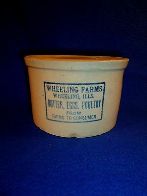 Wheeling Farms, Wheeling, Illinois Stoneware 2 lbs Butter Crock by Red Wing