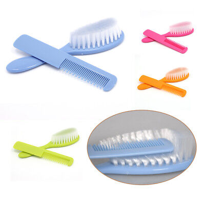New 2Pcs Baby Safety Soft Hair Brush Set Infant Comb Grooming Shower Design Pack