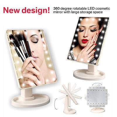16/22 LED Lights Vanity Makeup Mirror Touch Screen Tabletop Cosmetic Mirror