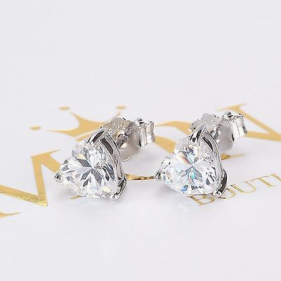 REAL 925 Sterling Silver Heart Cubic Zirconia Stud Earrings Gift