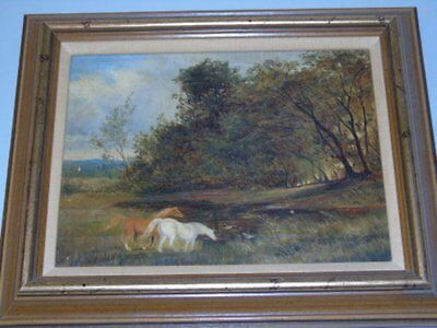 Art Pickers Exquisite Mid 19th Century British Horses Oil on Canvas Painting