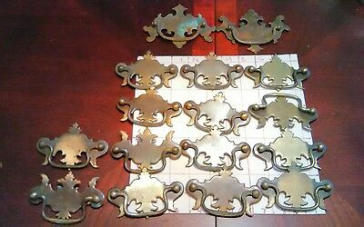 16 Piece Lot Antique Vintage Pulls Brass Metal Hardware Cabinet Door Drawer Lot