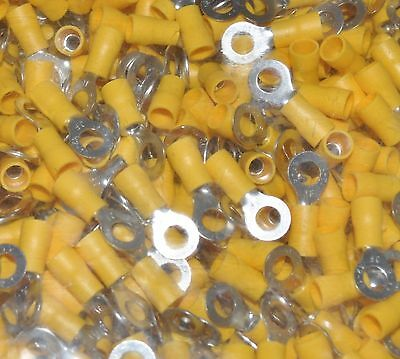 """50 Pc 12-10 Awg Insulated 1/4"""" Ring Crimp Connectors"""