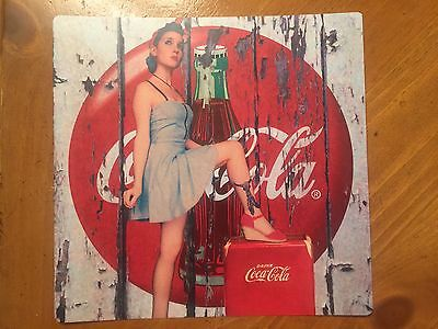 Tin Sign Vintage Coca-Cola Wooden Background With Pinup Girl