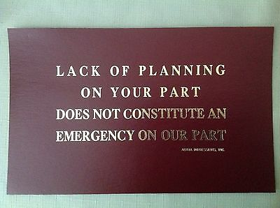 """1985-90 """"lack Of Planning On....."""" Funny Cardboard Sign W-Golden Lettering - New"""