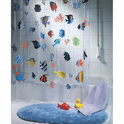 QUALITY Spirella Transparent Fish Clear Plastic Shower Curtain 180 x 200 cm