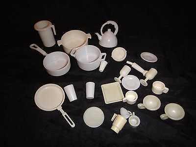 BARBIE SIZE~White set of Dishes~24 pc~MUST SEE!