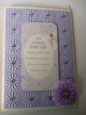 An Angel for you~Friendship Heart warming words greeting  Handmade card 3D~