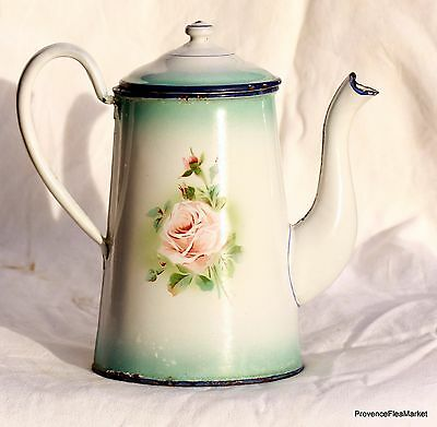 Antique French Enamelware Graniteware Green  Floral Coffee Pot