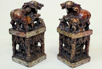 Pair Antique Chinese Carved Water Buffalo & Bamboo Soapstone Hard stone Seals