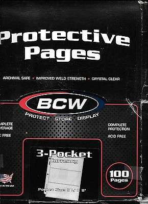 100 BCW 3-Pocket Currency Size Binder Pages PRO3C