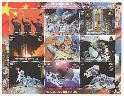 Chinese Space Travel Astronaut Moon Landing 2008 Mnh Stamp Sheetlet