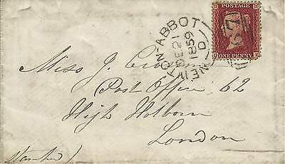 GB 1859 1d Red Stars Cover with Newton Abbot 567 Sideways Duplex to London