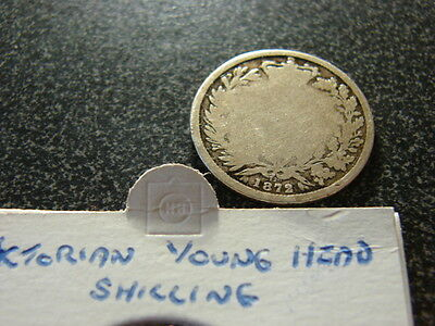 Queen Victoria 1872 One Shilling coin, Young Head