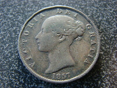 Queen Victoria 1857 Halfpenny ½d, Lovely Coin, YOUNG HEAD