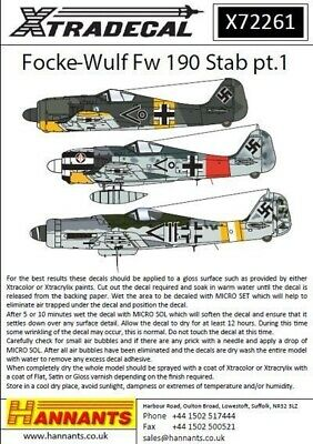 Xtradecal X72261 1/72 Focke-Wulf Fw-190 Stab markings Pt 1 Model Decals