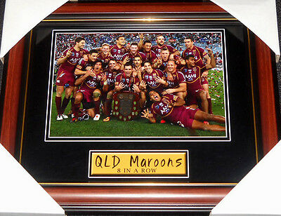 Queensland Maroons State Of Origin 8 In A Row Rugby League Small Print Framed
