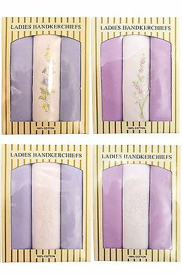 Womens Ladies Embroidered 100% Cotton Hankies Hankerchief 3 Value Pack Gift Box