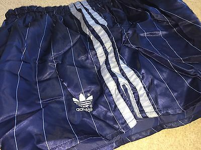 Shiny Satin Vintage Navy Blue Pin Stripe Adidas  Sprinter Shorts XL D8