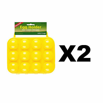 Coghlan's 12 Egg Holder Yellow Hard-Plastic Carrier w/Handles Compact (2-Pack)