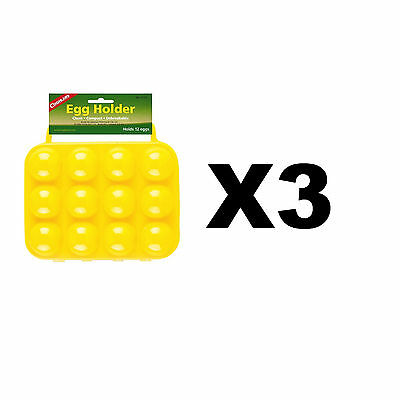 Coghlan's 12 Egg Holder Yellow Hard-Plastic Carrier w/Handles Compact (3-Pack)