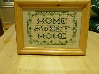 Vintage  Home Sweet Home Cross Stitch Sampler, Beautifully Framed