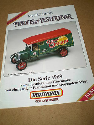 Matchbox Yesteryear Catalogue 1989 German Edition Excellent Condition