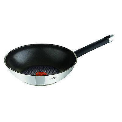 Tefal 28cm Emotion Stainless Steel Non-Stick Stir Fry Frying Pan Wok Cookware