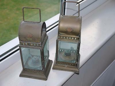 Rare Pair Vintage Railway Hand Lamps Gwr Brass With Bev Glass Burners & Wicks