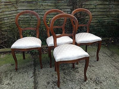 4 X Balloon Back Chairs Cream Upholstery