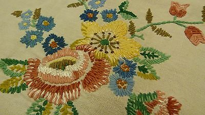 Vintage Hand Embroidered Irish Linen Tablecloth - Very Detailed Stitches