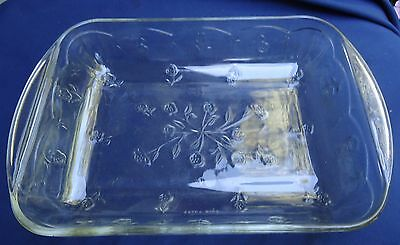 Vintage Clear Glass Square Floral Covered Casserole Oven Proof Bakeware.