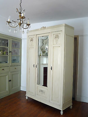 Painted Knockdown French Armoire Wardrobe with Fitted Interior