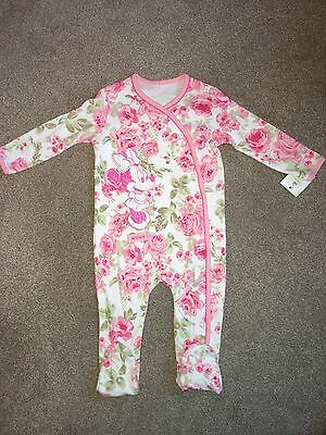 Disney Minnie Mouse Floral Pink Baby Sleepsuit 6-9 Months BNWT