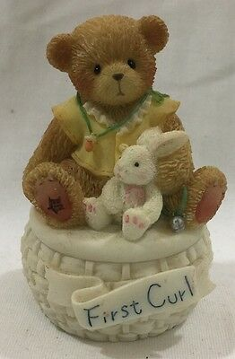 2002 Enesco Cherished Teddies 778915A First curl Covered Box