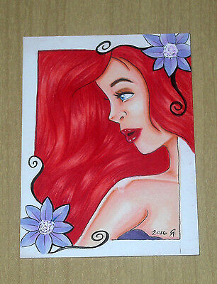 2016 Island Dreams sketch art card 1/1 artist unknown pretty redhead profile