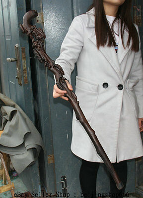 "36"" Collect China Natural Rosewood Hand-Carved branch Tree Walking Stick Crutch"