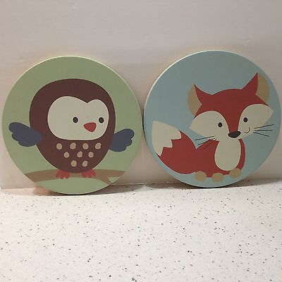 Kidsline Round Canvas Wall Plaque Owl And Fox 2009