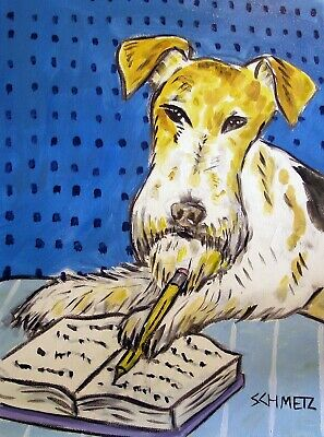 fox terrier in the library reading studying 8x10 signed dog art print