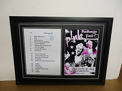 Pink Genuine Hand Signed/Autographed Song List with a Photograph & COA