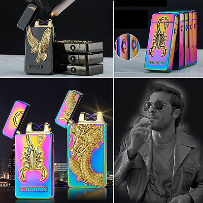 USB Lighter Cigarette Windproof Flameless Plasma Rechargeable Rilievo