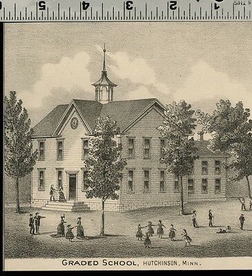 Graded School at Hutchinson, Minnesota: Authentic 1874 View (Small)